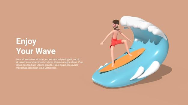 Modelo de banner de verão com um homem surfando