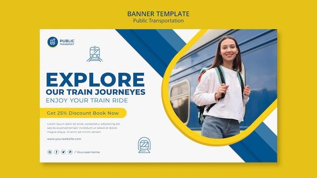 Modelo de banner de viagem de trem