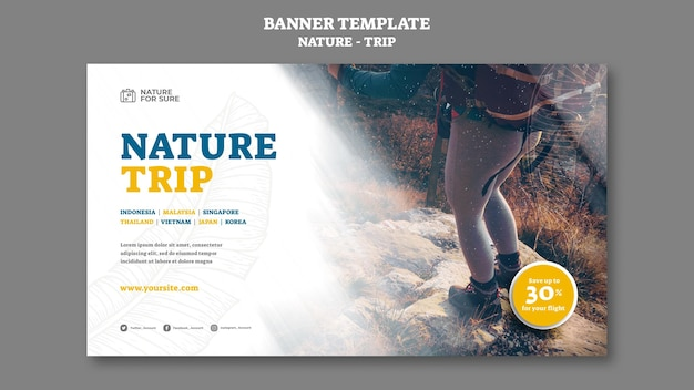 Modelo de banner de viagem na natureza