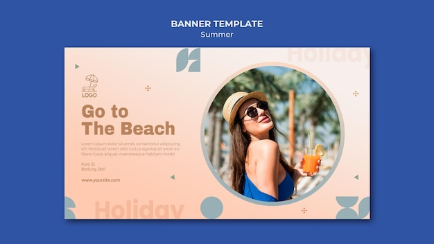 Modelo de banner de viagens de verão