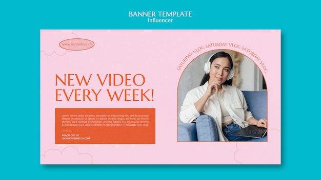 Modelo de banner de vídeo semanal