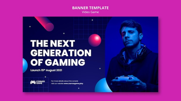 Modelo de banner de videogame