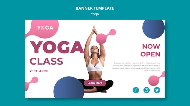 Modelo de banner de vidro de ioga