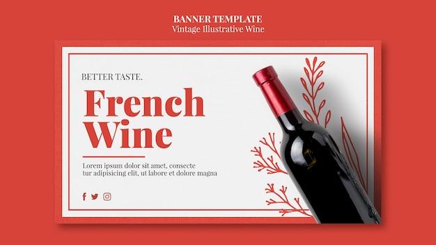 Modelo de banner de vinho francês