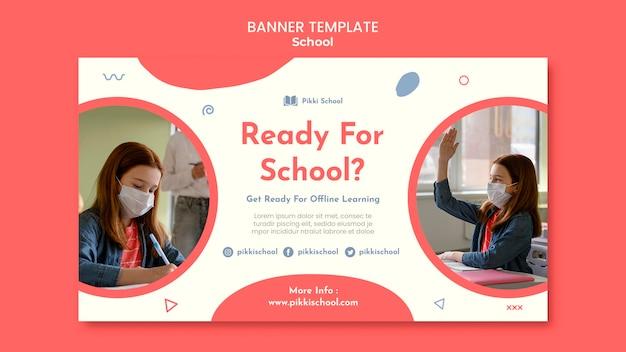 Modelo de banner de volta às aulas com foto