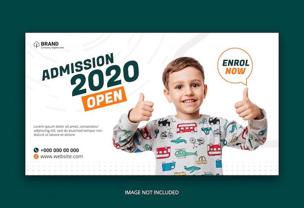 Modelo de banner de web de admissão de educação escolar de crianças