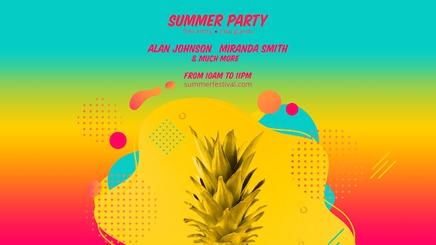 Modelo de banner de web festa de verão colorido