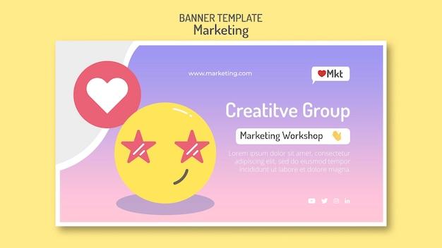 Modelo de banner de workshop de marketing com emoji
