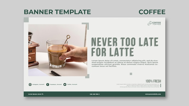 Modelo de banner de xícara de café