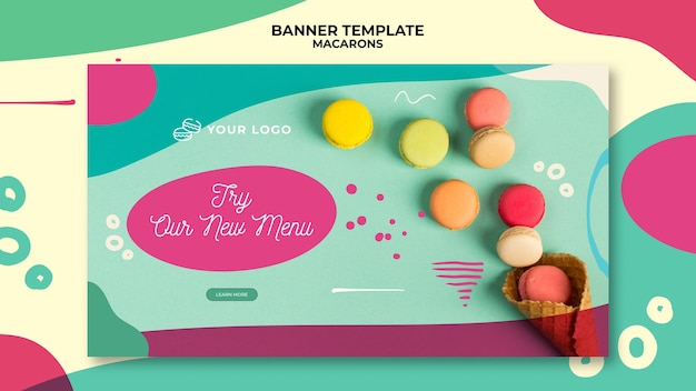 Modelo de banner delicioso colorido macarons doces