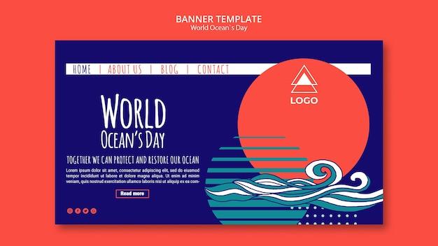 Modelo de banner dia mundial oceano