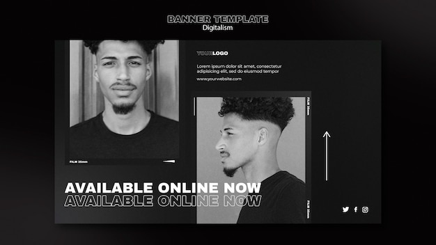 Modelo de banner digital de compras com foto