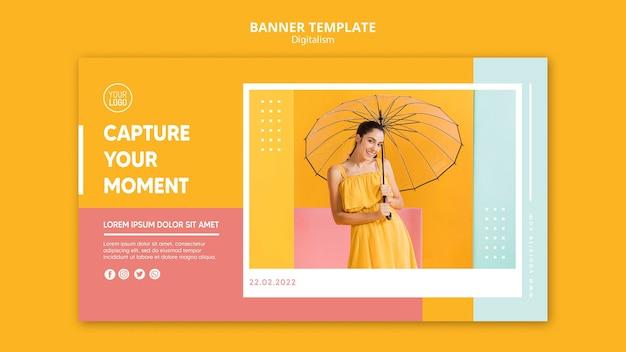 Modelo de banner digitalismo colorido com foto