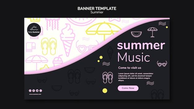 Modelo de banner divertido verão música