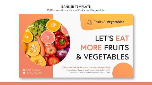Modelo de banner do ano internacional de frutas e vegetais