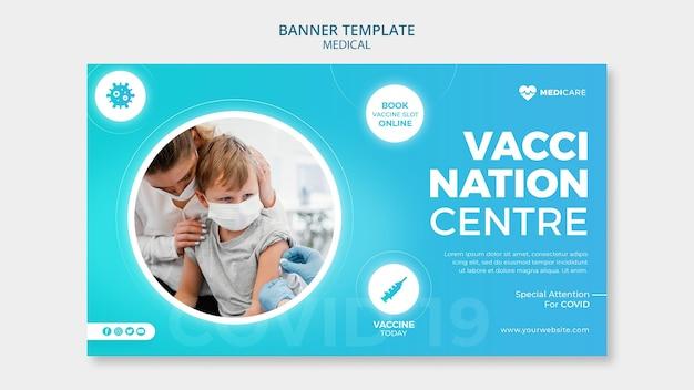 Modelo de banner do centro de vacinação