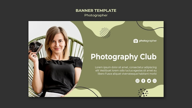 Modelo de banner do clube de fotografia