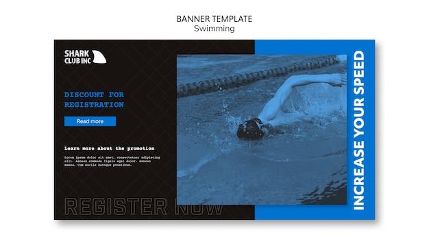 Modelo de banner do clube de natação homem vista alta