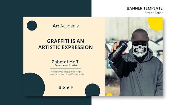 Modelo de banner do conceito de artista de rua