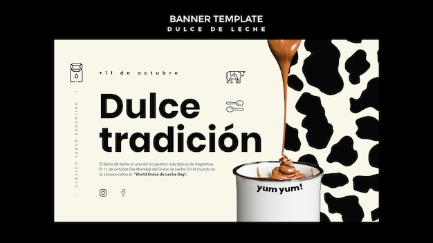 Modelo de banner do conceito de doce de leite