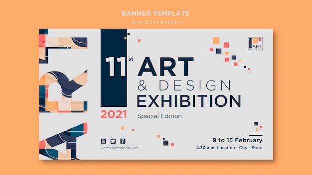 Modelo de banner do conceito de exposição de arte