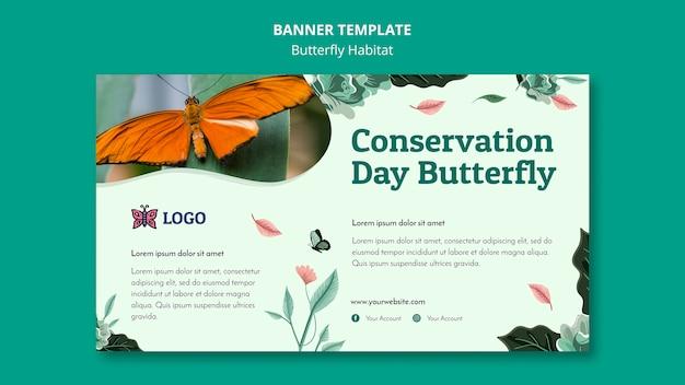 Modelo de banner do conceito de habitat de borboletas