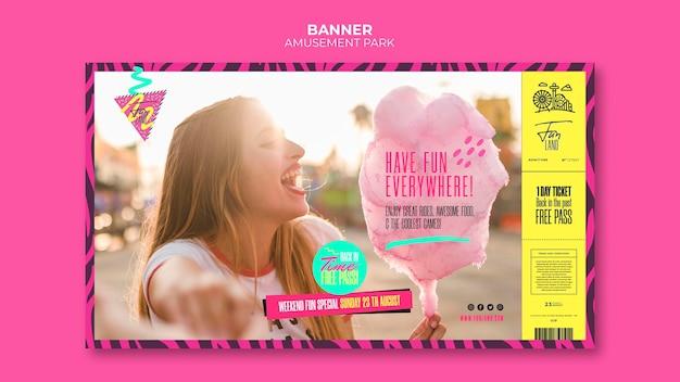 Modelo de banner do conceito de parque de diversões