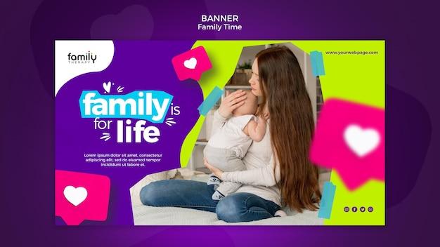 Modelo de banner do conceito de tempo para a família
