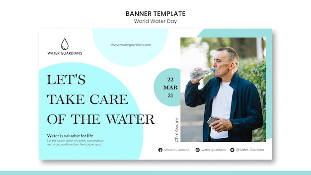 Modelo de banner do conceito do dia mundial da água