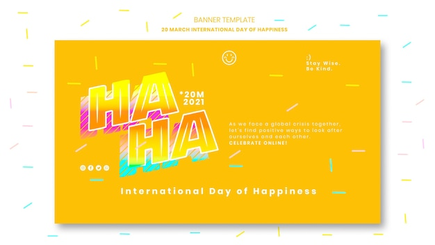 Modelo de banner do dia da felicidade