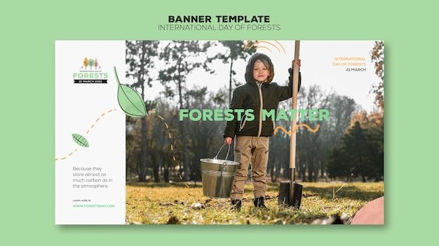 Modelo de banner do dia da floresta