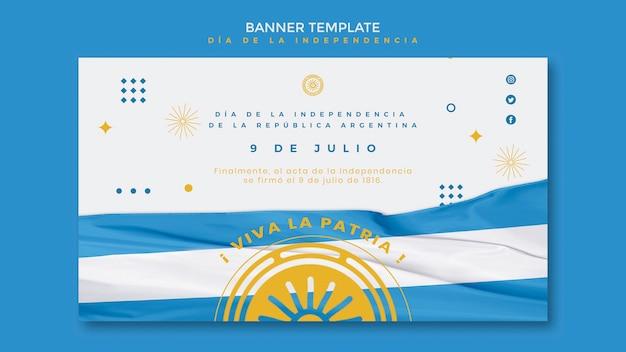 Modelo de banner do dia da independência da argentina