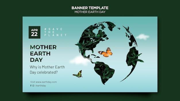 Modelo de banner do dia da mãe terra