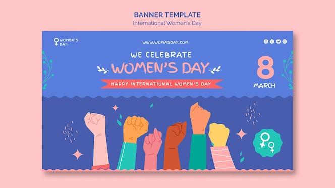 Modelo de banner do dia da mulher bonito ilustrado