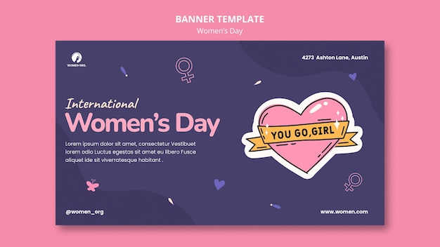 Modelo de banner do dia da mulher