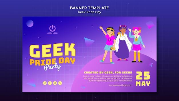Modelo de banner do dia do orgulho geek com pessoas fantasiadas