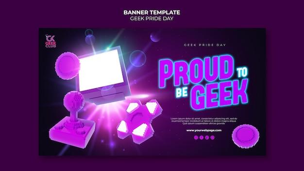 Modelo de banner do dia do orgulho geek