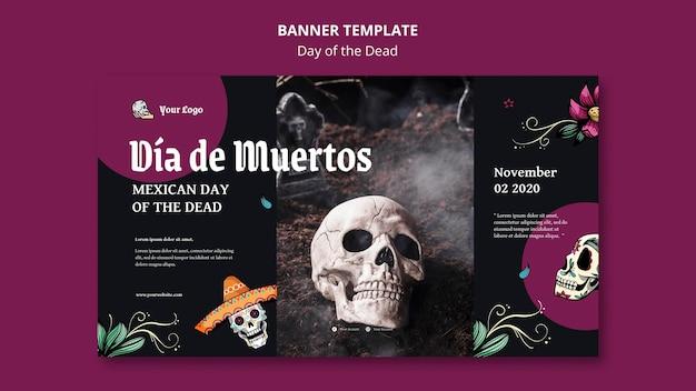 Modelo de banner do dia dos mortos
