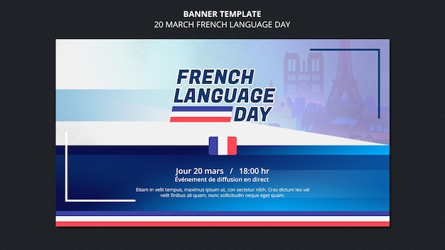 Modelo de banner do dia em francês