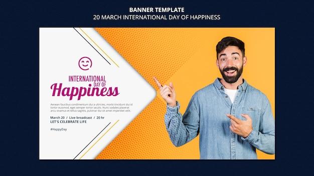 Modelo de banner do dia internacional da felicidade