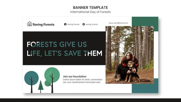 Modelo de banner do dia internacional das florestas
