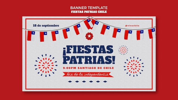 Modelo de banner do dia internacional do chile