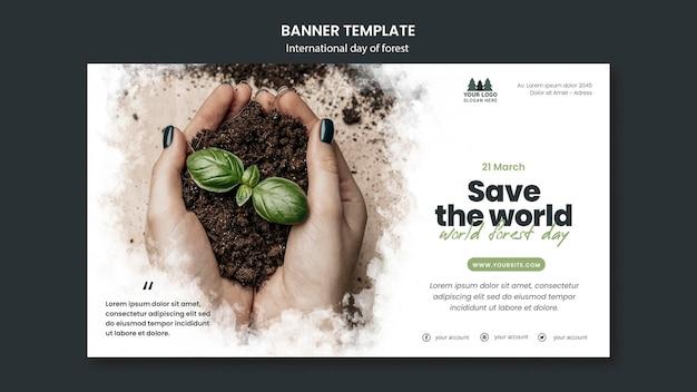 Modelo de banner do dia mundial da floresta