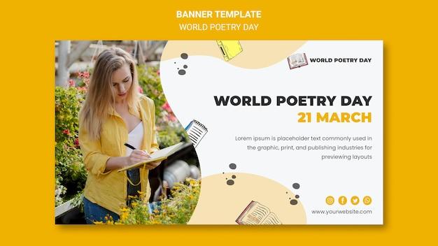 Modelo de banner do dia mundial da poesia