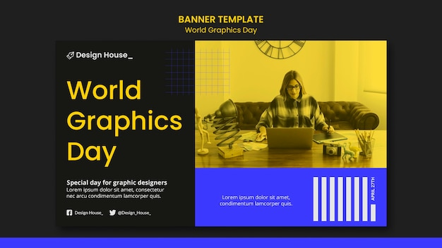 Modelo de banner do dia mundial de gráficos