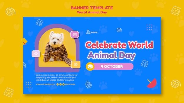 Modelo de banner do dia mundial do animal
