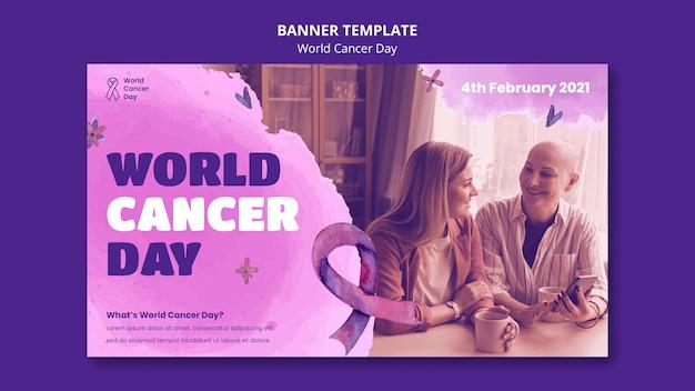 Modelo de banner do dia mundial do câncer com fita
