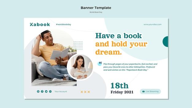 Modelo de banner do dia mundial do livro