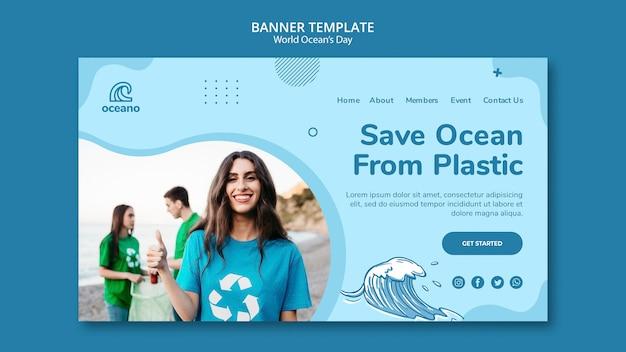 Modelo de banner do dia mundial do oceano