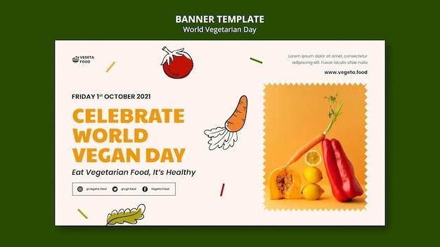 Modelo de banner do dia vegetariano mundial